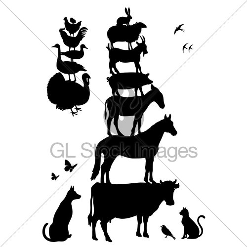 Stacked barnyard animals clipart black and white graphic royalty free library Farm Animals, Vector Set · GL Stock Images graphic royalty free library
