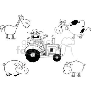 Stacked barnyard animals clipart black and white picture Farm Animals Cartoon Characters And Farmer In Tractor clipart. Royalty-free  clipart # 379345 picture
