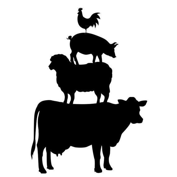 Stacked barnyard animals clipart black and white graphic transparent FREE SHIPPING to USA! This 4 vinyl window decal features the ... graphic transparent
