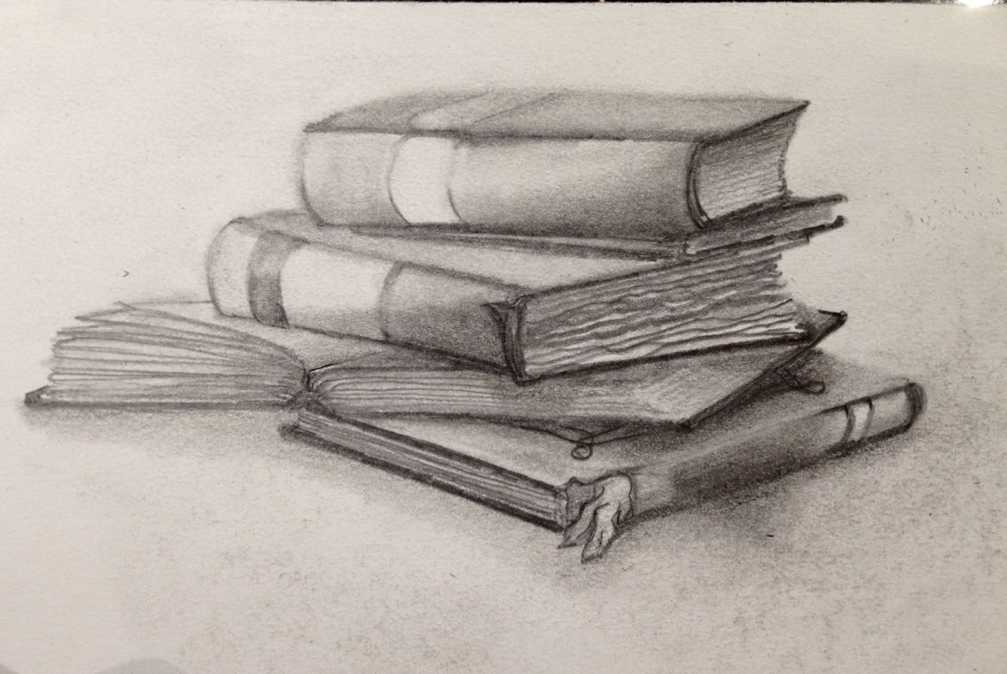 Stacked pencil clipart black and white Graphite drawing of stacked books. Fun to draw. | drawing in ... black and white