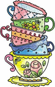 Tea cup pictures clipart banner freeuse download Stamp It Tea Cup Stack Wood Mounted Rubber Stamp 4466D ... banner freeuse download