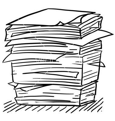 Stacks of paper clipart banner black and white library Stack Of Papers Drawing | Resume Examples within Stack Of ... banner black and white library
