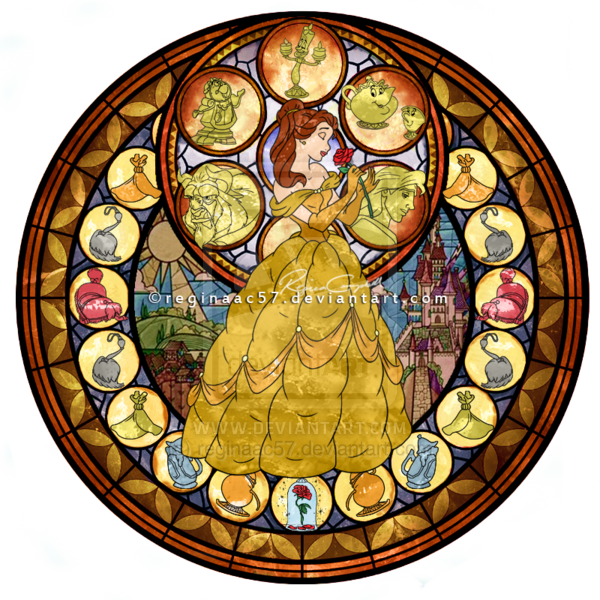 Stain glass cross clipart jpg transparent download Princess Belle - Kingdom Hearts Stain Glass by reginaac57.deviantart ... jpg transparent download