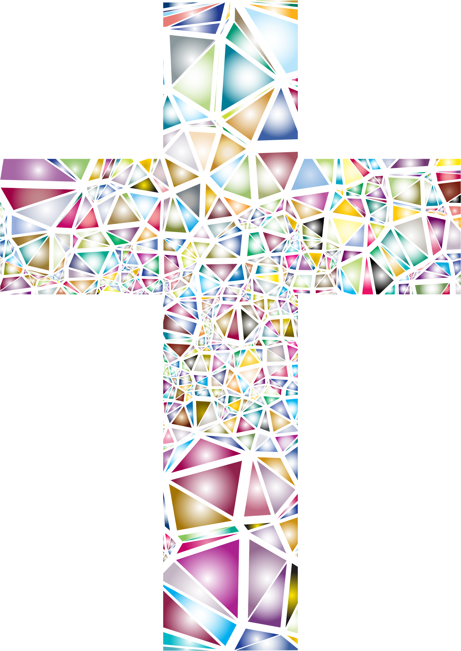 Stained glass cross clipart svg free Clipart - Low Poly Stained Glass Cross 2 No Background svg free