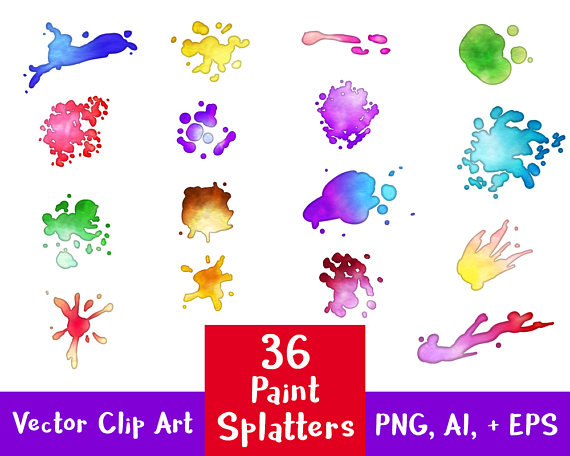 Staining clipart graphic stock 36 Paint Splatters Clipart, Watercolor Clipart, Paint ... graphic stock