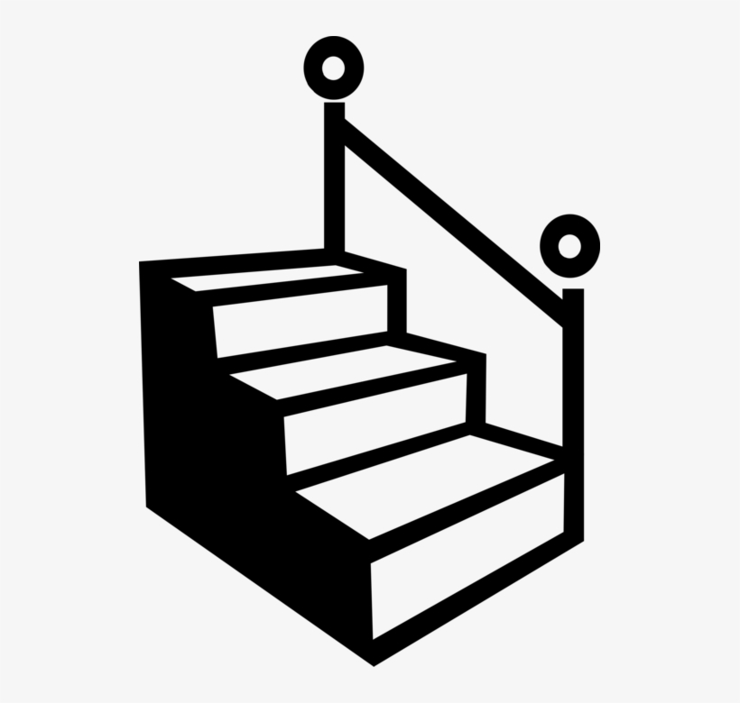 Stairs clipart black and white vector royalty free Vector Illustration Of Staircase Stairs With Handrail ... vector royalty free