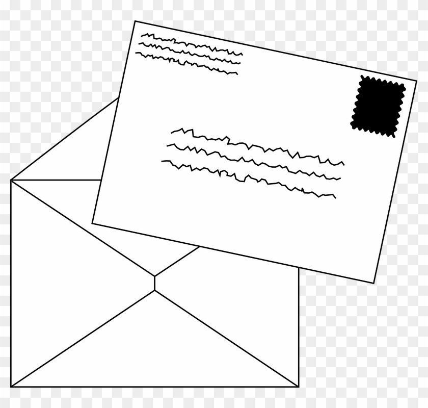 Stamped envelope clipart graphic black and white download Mail Stamp Envelope Letter Postage Postal - Clip Art Letter ... graphic black and white download