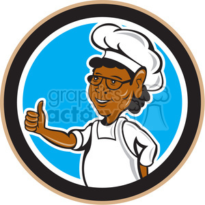 Stand up clipart circle vector black and white chef African American standing thumb up in circle shape clipart.  Royalty-free clipart # 392435 vector black and white