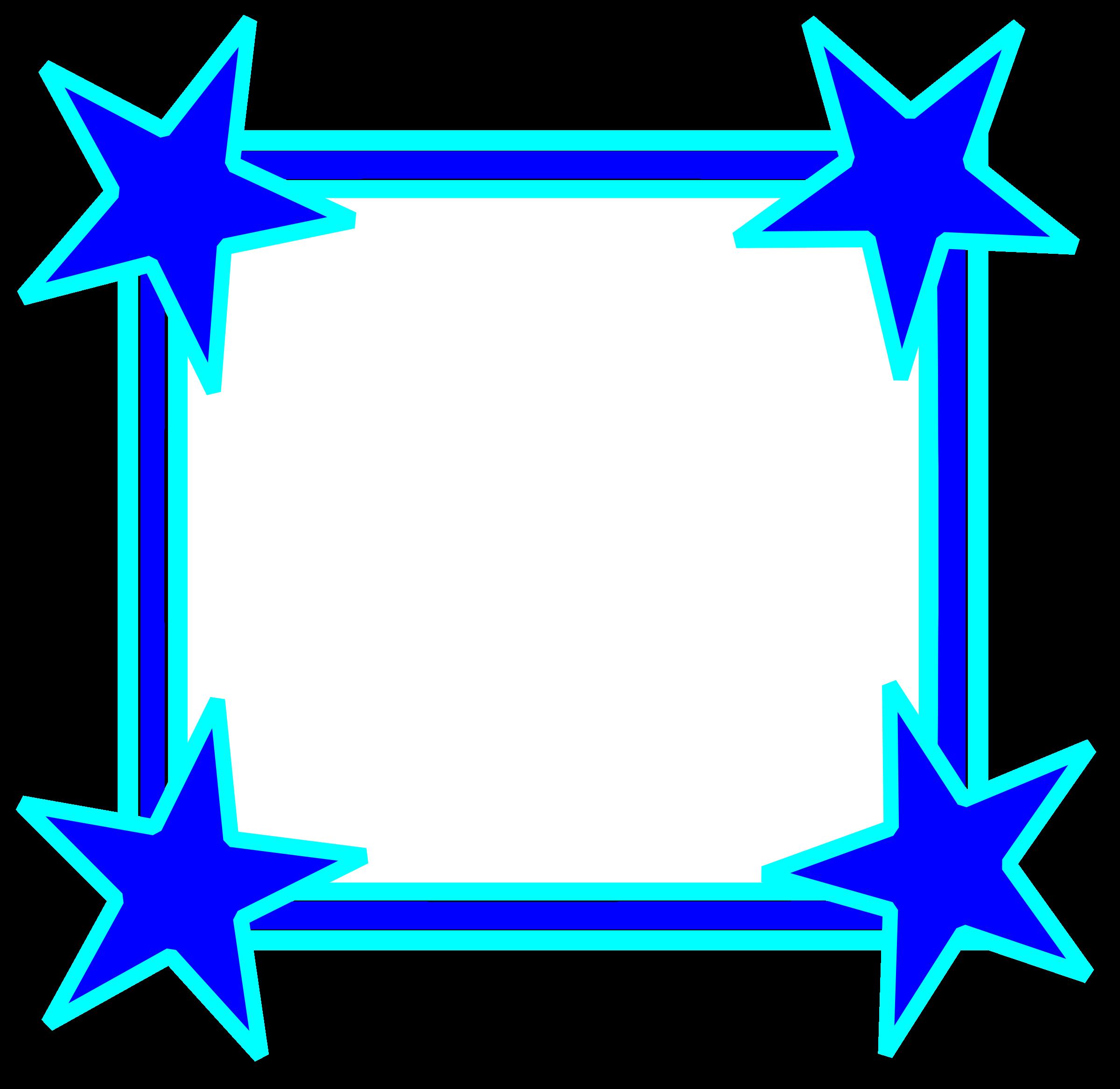 Star bright clipart clip free Clipart - Simple Bright Blue Star Cornered Frame clip free