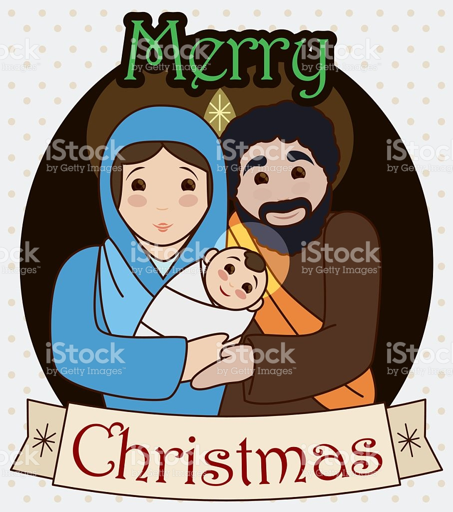 Star christmas message clipart banner royalty free Traditional Holy Family With Greeting Christmas Message stock ... banner royalty free