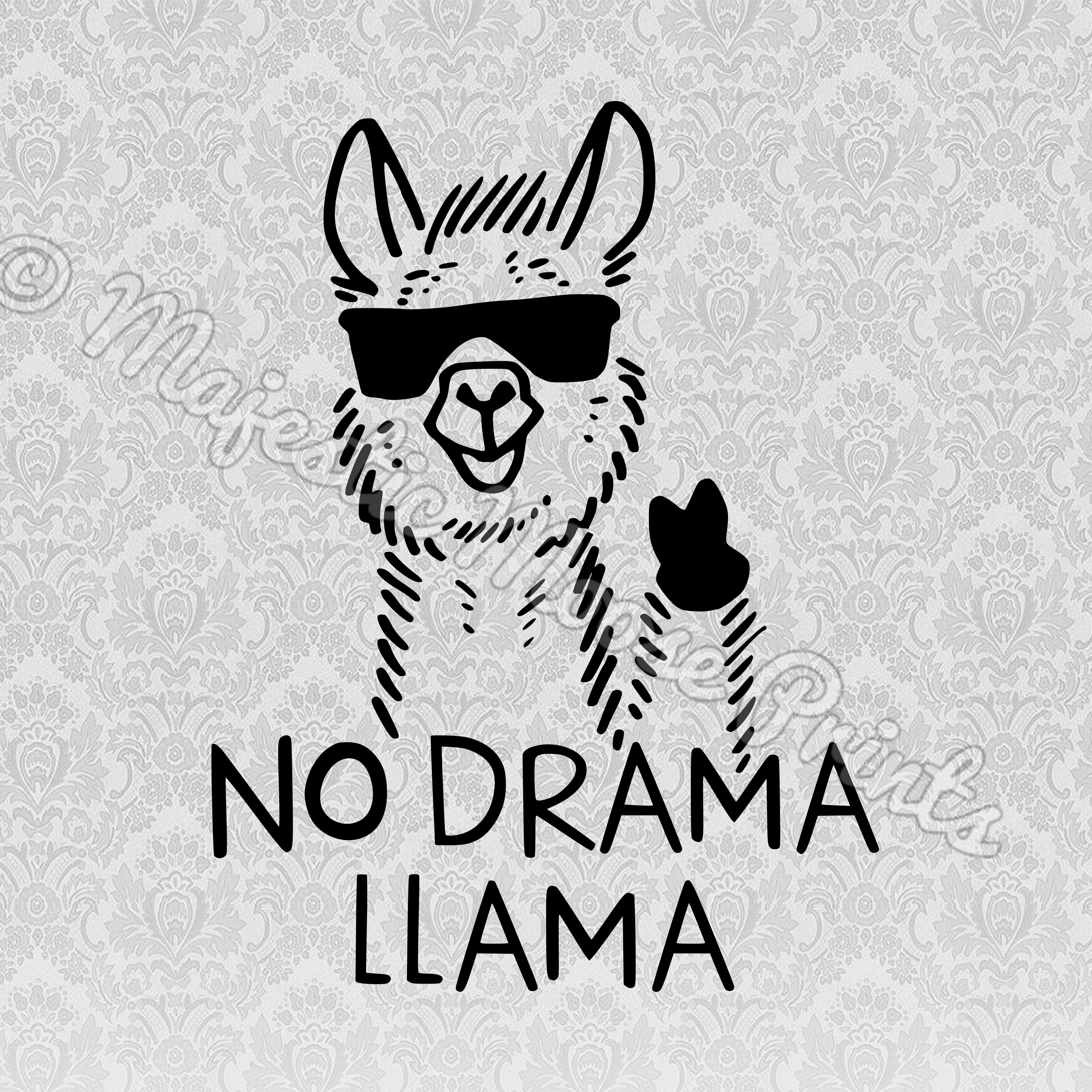 Star clipart black and white drama vector transparent download Majestic Moose Prints - No Drama Llama SVG / Clipart / Cut File vector transparent download