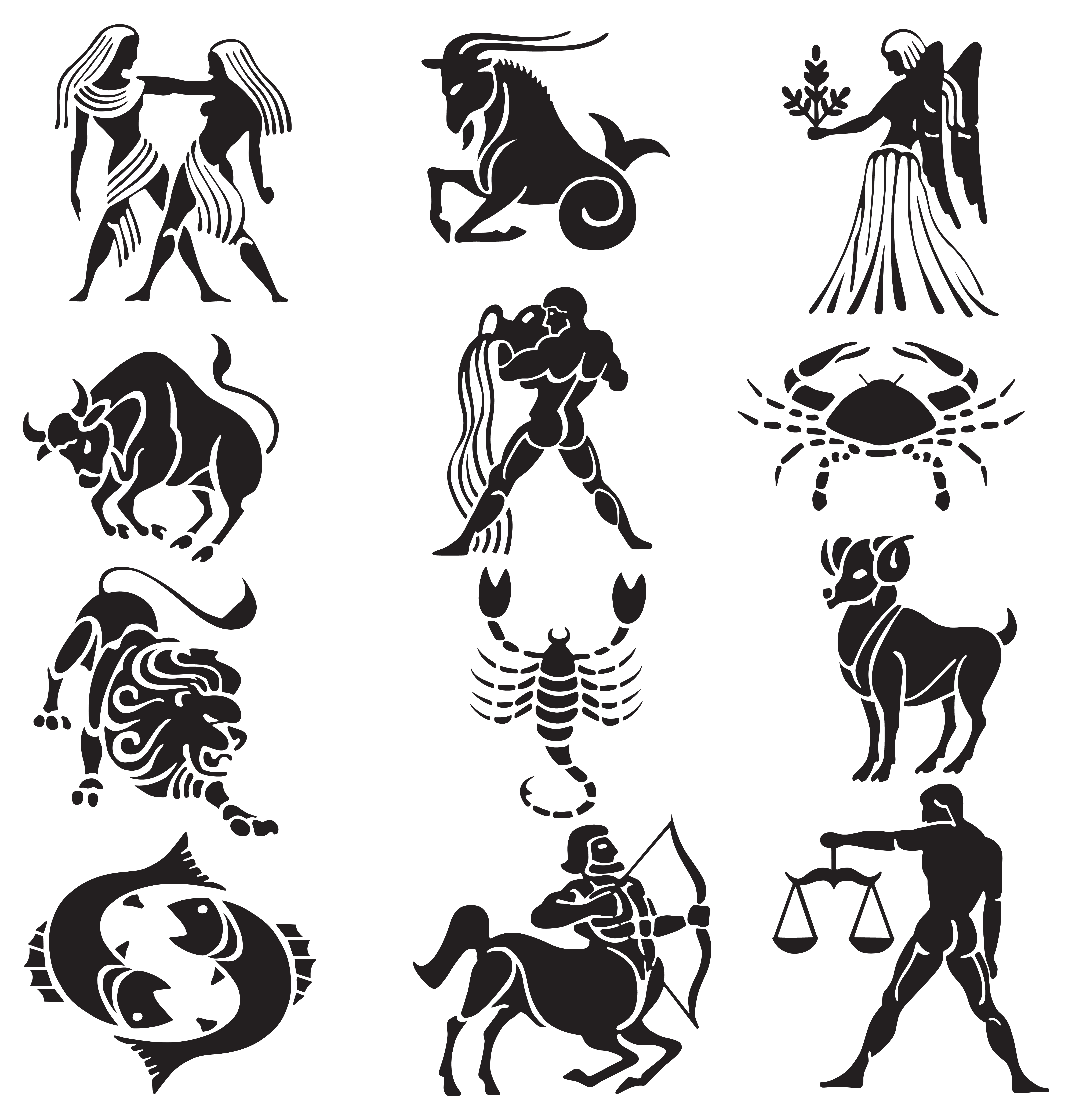 Star sign clipart vector royalty free download Transparent Zodiac Signs Set PNG Clipart | Gallery Yopriceville ... vector royalty free download