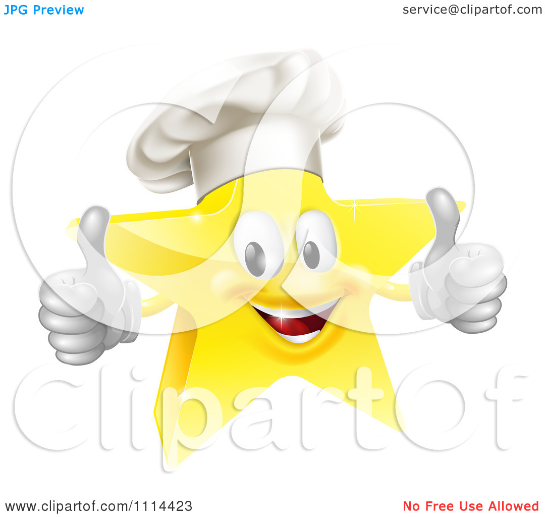 Star thumbs up clipart svg black and white stock Clipart 3d Chef Star Holding Two Thumbs Up - Royalty Free Vector ... svg black and white stock
