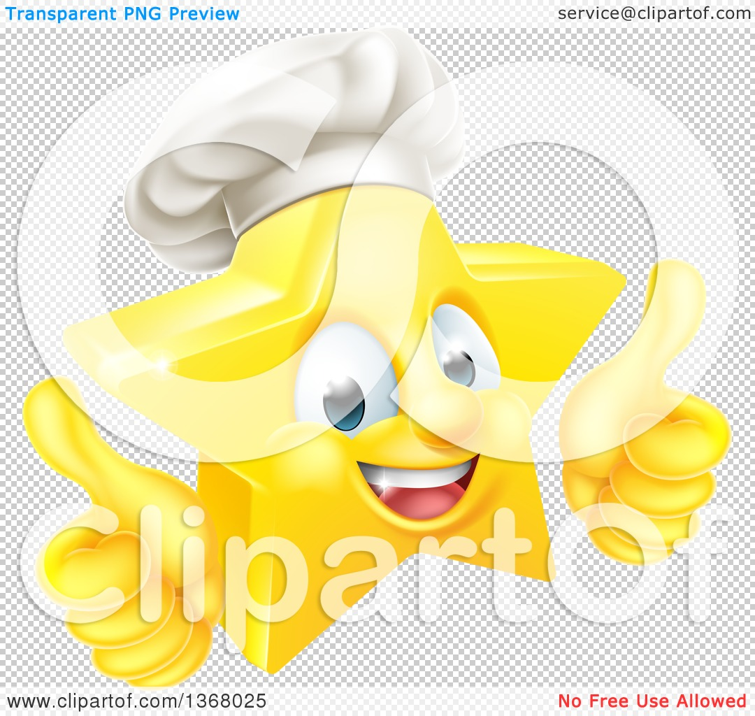 Star thumbs up clipart graphic freeuse download Clipart of a 3d Happy Golden Chef Star Emoji Emoticon Character ... graphic freeuse download