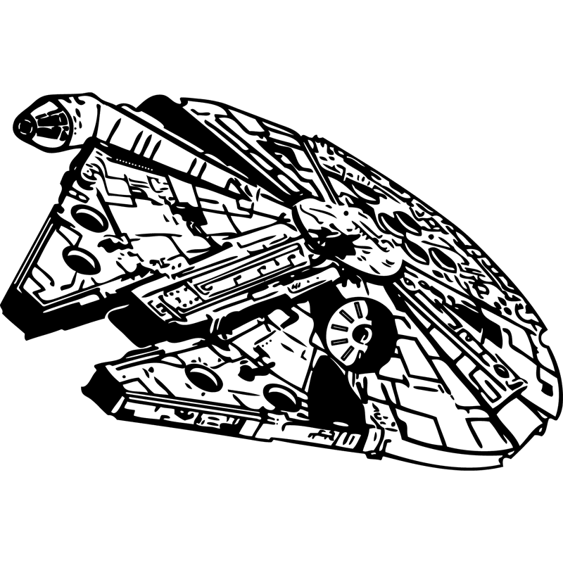 Star wars clipart black and white free clip art stock Millennium Falcon Star Wars Stencil Clip art - Millennium falcon 800 ... clip art stock