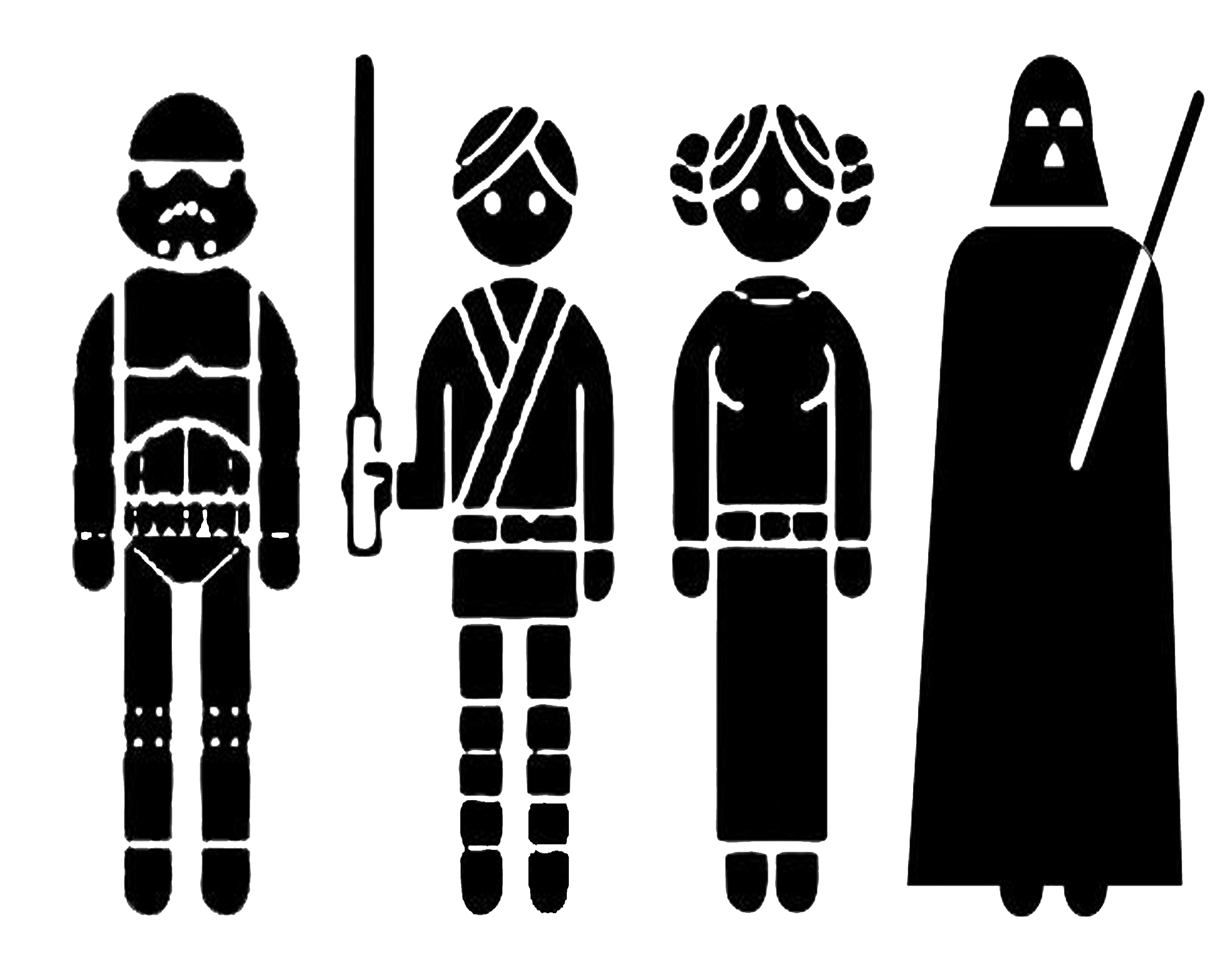 Star wars characters clipart black and white image Star Wars PNG Black And White Transparent Star Wars Black And White ... image