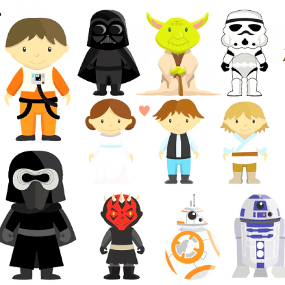 Star wars trilogy clipart graphic free Star Wars Characters Clipart Sets | Star Wars Gifts 2019 graphic free