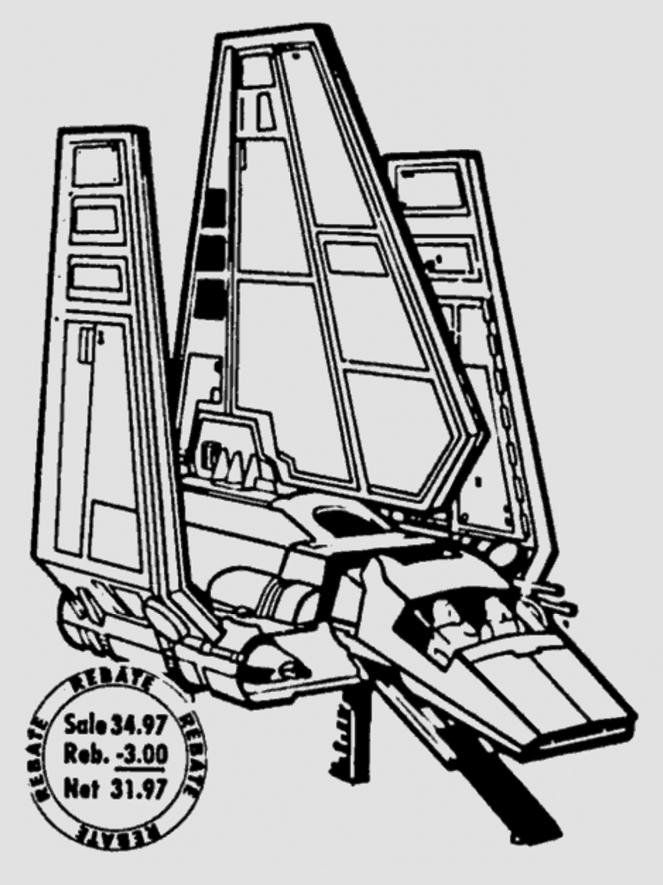 Star wars vehicles black and white clipart vector freeuse download Kenner Star Wars Imperial Shuttle $31.97 After Rebate vector freeuse download
