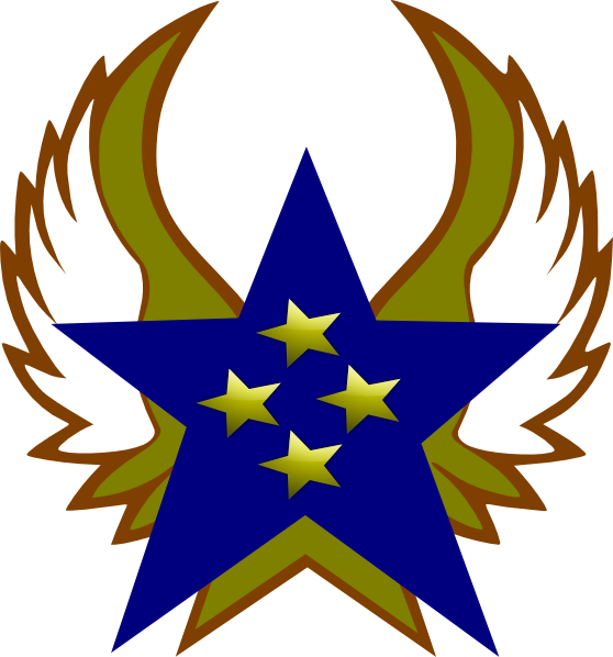 Star with wings clipart graphic free stock Blue Star With 4 Gold Star And Wings Clip Art at Clker.com - vector ... graphic free stock
