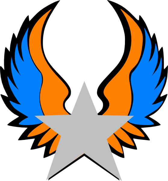 Star with wings clipart clipart royalty free stock Orange And Blue Star Wings Clip Art at Clker.com - vector clip art ... clipart royalty free stock
