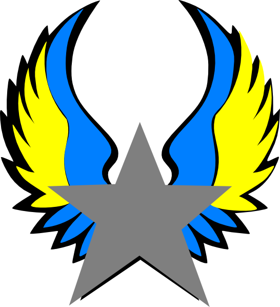 Star with wings clipart png transparent library Orange And Blue Star Wings Clip Art at Clker.com - vector clip art ... png transparent library
