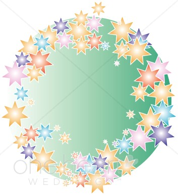 Star wreath clipart graphic freeuse stock Colorful Stars on a Green Background Clipart | Wedding ... graphic freeuse stock