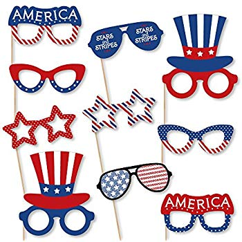 Stars and stripes sunglasses clipart freeuse library Amazon.com: Big Dot of Happiness Patriotic Glasses - Paper ... freeuse library
