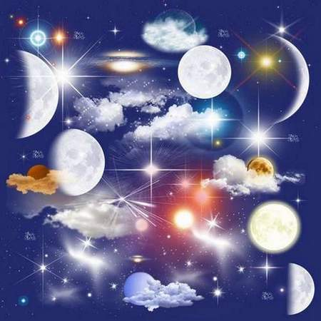 Stars in the sky clipart transparent background jpg stock Moon, stars, clouds on a transparent background - free ... jpg stock