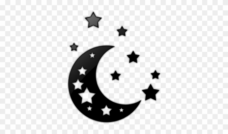 Stars & moon clipart black and white library Drawn Falling Stars Moon - Transparent Moon And Stars ... black and white library