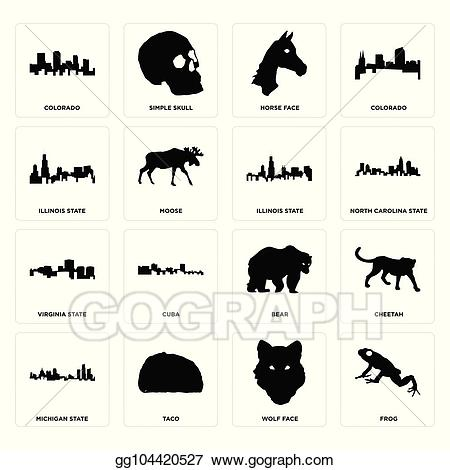 State bear north carolina clipart download Vector Illustration - Set of frog, wolf face, michigan state ... download