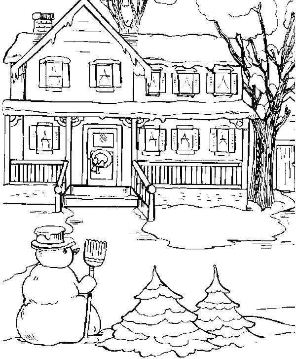 State house clipart vector black and white stock The State House In Snow Day Coloring Pages - Winter Coloring Pages ... vector black and white stock