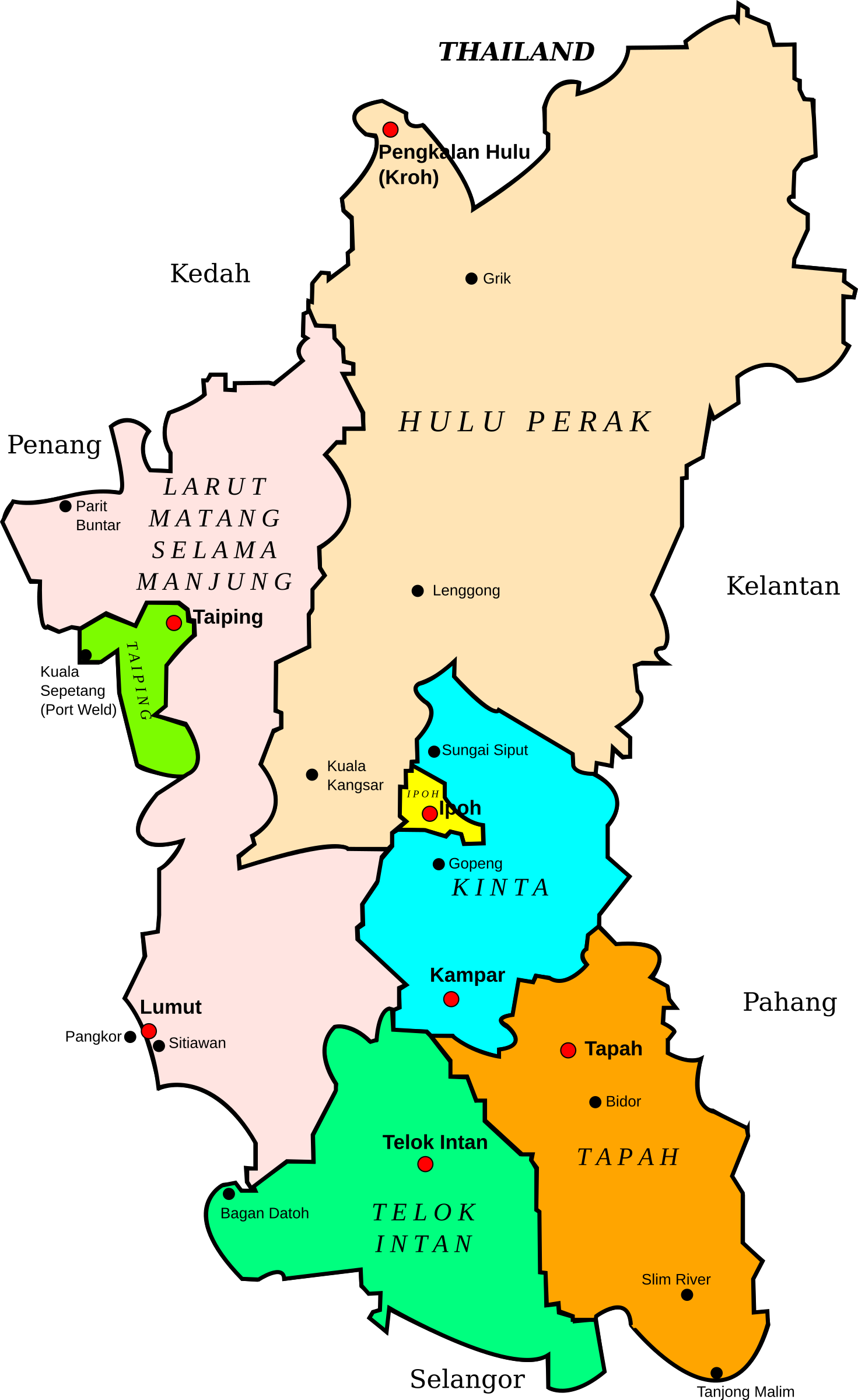 State map clipart banner stock Clipart - Map of Perak, Malaysia banner stock