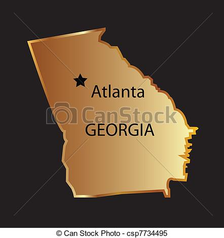 State of georgia map clipart image royalty free Clipart Vector of Gold georgia state map with capital name Gold ... image royalty free