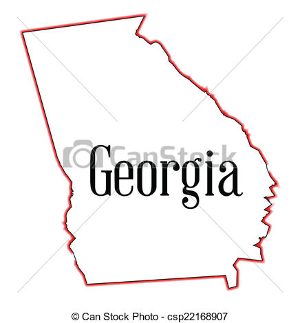 State of georgia map clipart jpg black and white library Vector Clipart of Georgia - State map outline of Georgia over a ... jpg black and white library