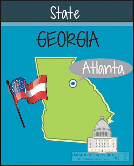 State of georgia map clipart vector stock Georgia : georgia-state-map-capital-flag : Classroom Clipart vector stock