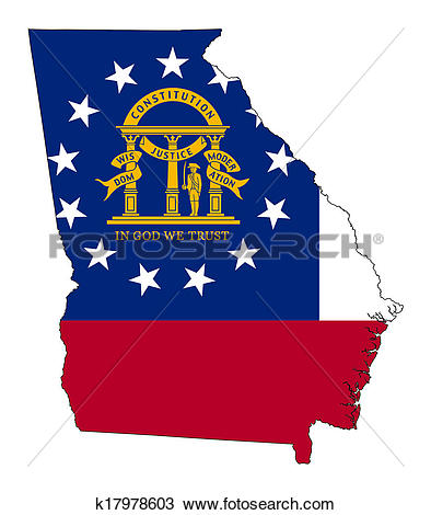 State of georgia map clipart png stock Drawing of State of Georgia flag map k17978603 - Search Clipart ... png stock