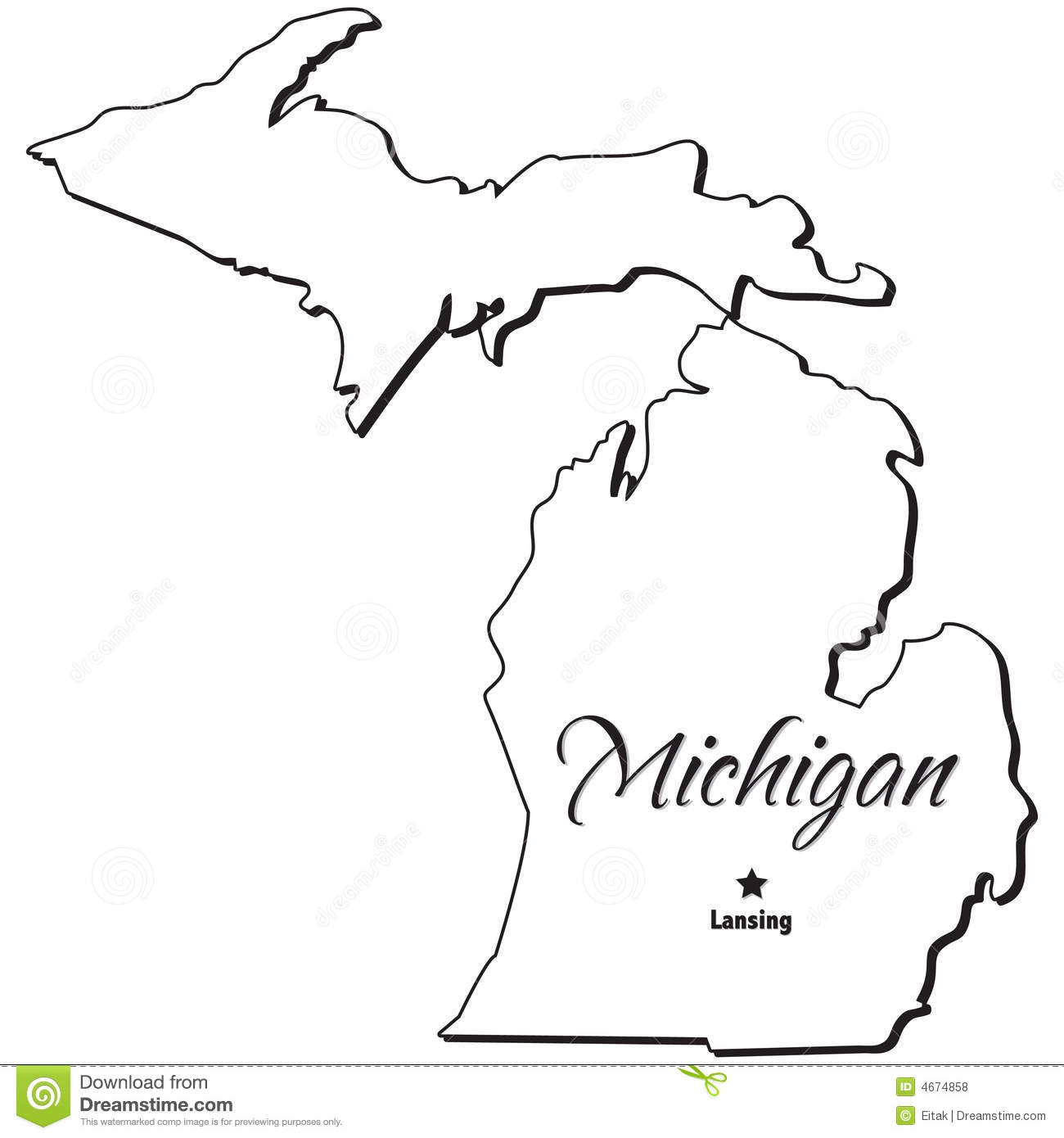 State of michigan clipart vector freeuse stock State of Michigan Outline | Clipart Panda - Free Clipart Images vector freeuse stock