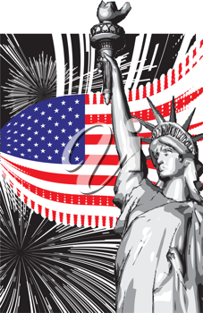 Statue of liberty independence day black and white clipart jpg library Statue of Liberty - Independence Day Clipart | Clip art ... jpg library