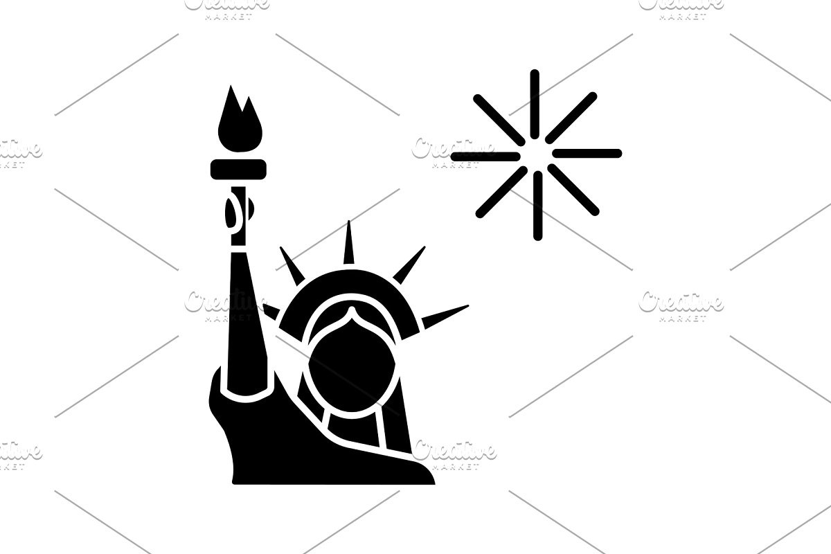 Statue of liberty independence day black and white clipart graphic stock The Statue of Liberty glyph icon graphic stock