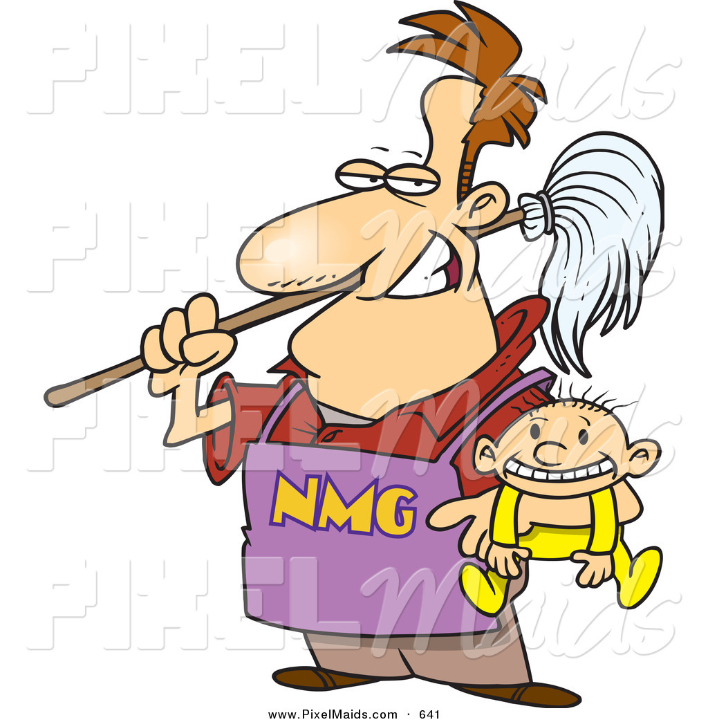 Stay at home dad clipart clipart free download Clipart of a Cartoon Stay at Home Dad Holding a Baby and a ... clipart free download