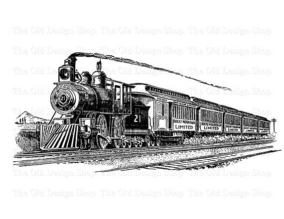Steam lead clipart jpg transparent Vintage Train Printable Steam Engine Locomotive Clip Art ... jpg transparent