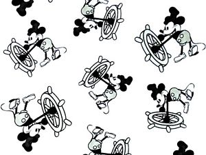 Steamboat willie clipart vector library stock Details about FAT QUARTER DISNEY FABRIC STEAMBOAT WILLIE MICKEY MOUSE  VINTAGE QUILTING FQ vector library stock