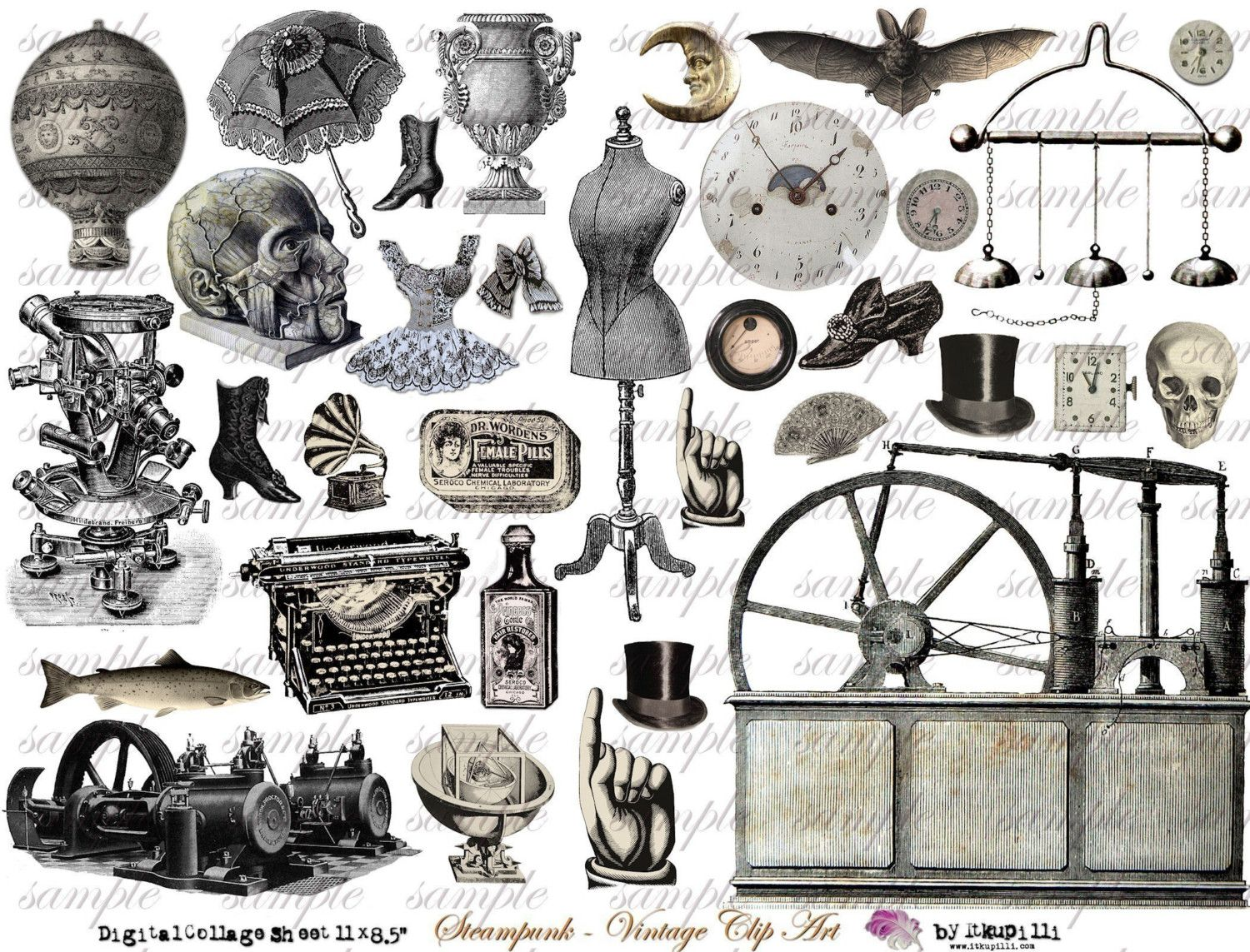 Steampunk clipart illustrations