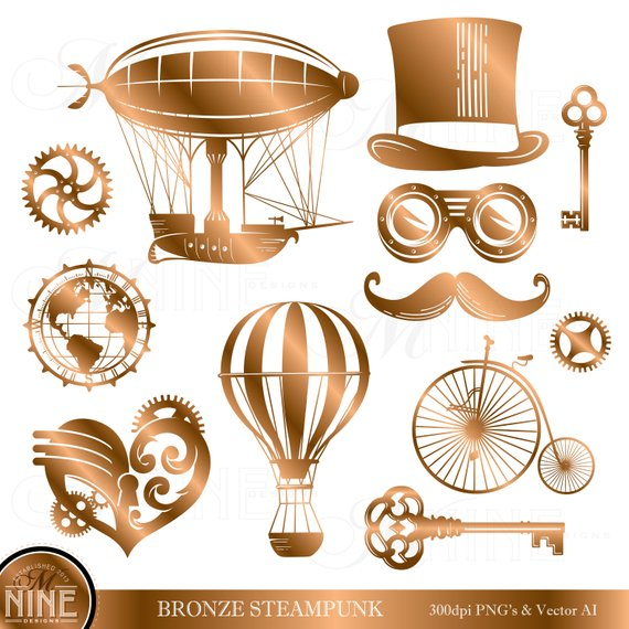 Steampunk clipart images clip art freeuse download BRONZE STEAMPUNK Clipart | Bronze Steampunk Style Clip Art... clip art freeuse download