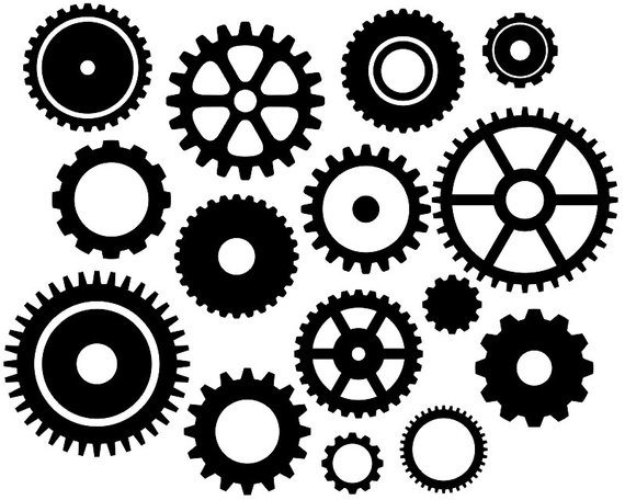 Steampunk gears clipart no background black and white picture download Steampunk Gears Clip Art, Black Gears Silhouette Clip Art ... picture download