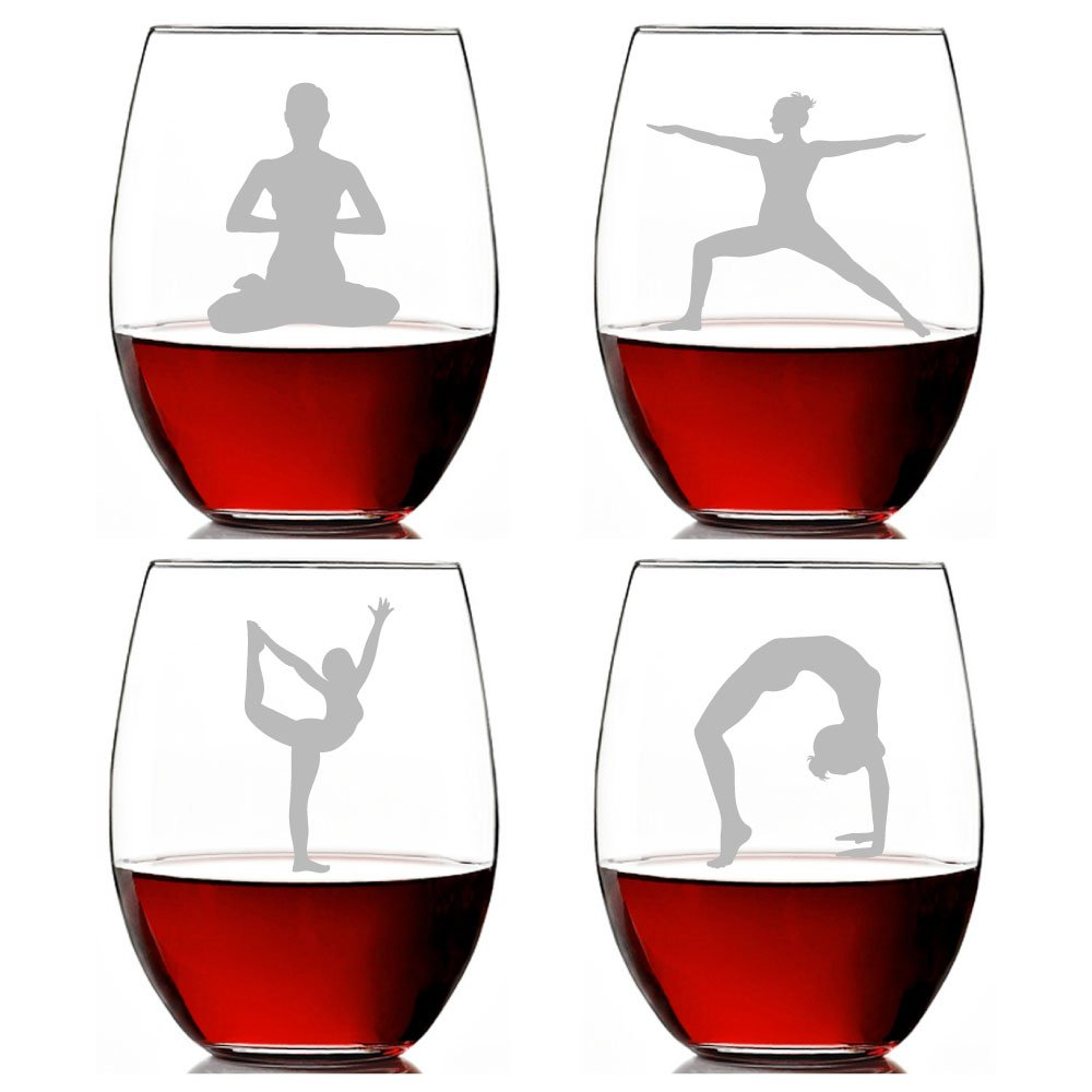 Stemless wine glass clipart clip library library Amazon.com   Yoga Poses Engraved 15-ounce Stemless Wine ... clip library library