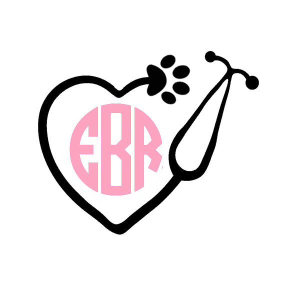 Stethoscope monogram clipart picture library download Vet Tech Monogram Decal Vet Decals Paw Print Decals ... picture library download