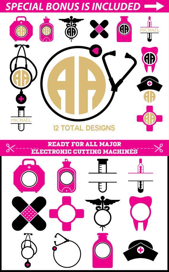 Stethoscope monogram clipart graphic royalty free stock NURSE SVG Files for Cricut, Nurse Monogram svg, Stethoscope ... graphic royalty free stock