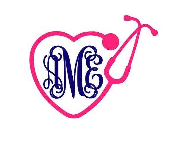 Stethoscope monogram clipart jpg royalty free download Stethoscope Heart Monogram instant download cut file - SVG ... jpg royalty free download