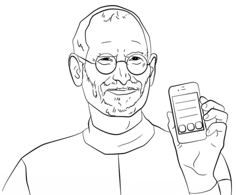 Steve jobs line drawing clipart black and white image freeuse download Steve Jobs coloring page | Free Printable Coloring Pages image freeuse download